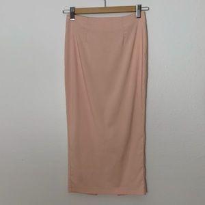 ASOS light peach midi skirt with back split